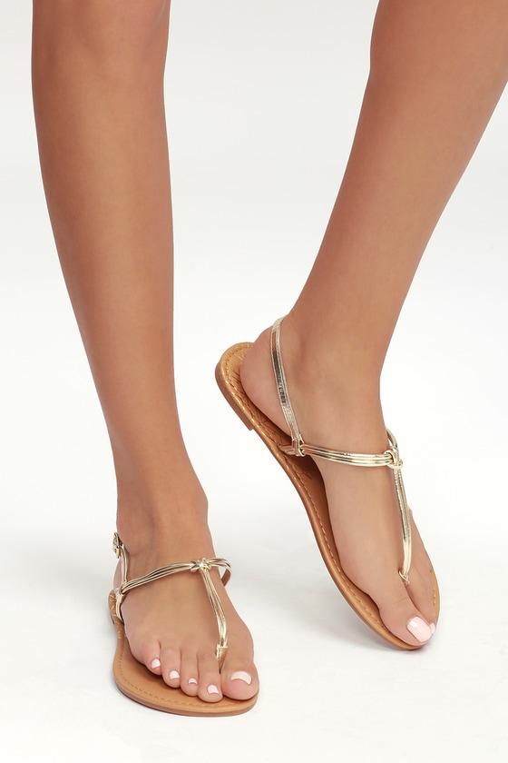 2aec7458b1de Cute Gold Sandals - Thong Sandals - Flat Sandals