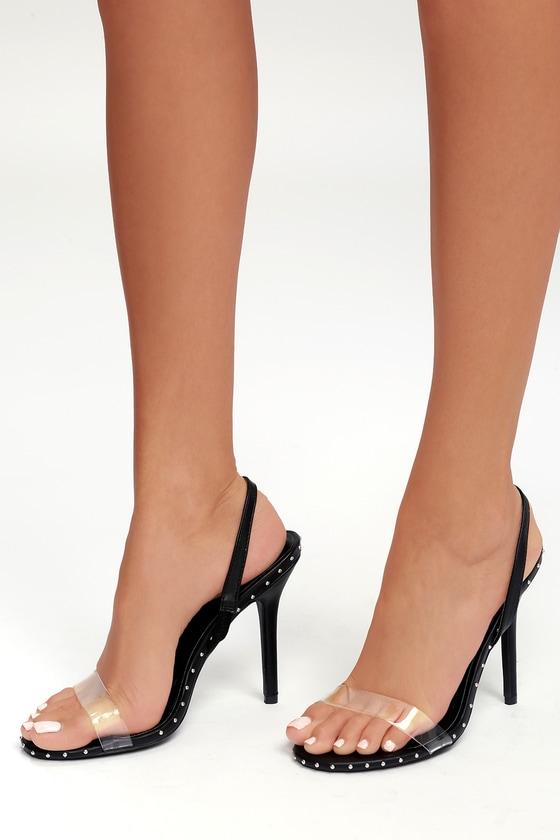 d5d97391835 Sexy Black Heels - Vinyl Strap Heels - Slingback Heels