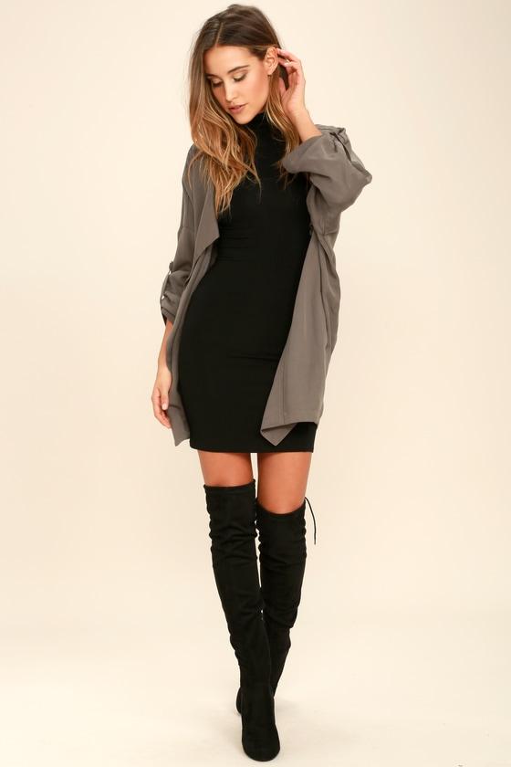 03632e94cf0 Black Dress - Turtleneck Dress - Black Bodycon Dress