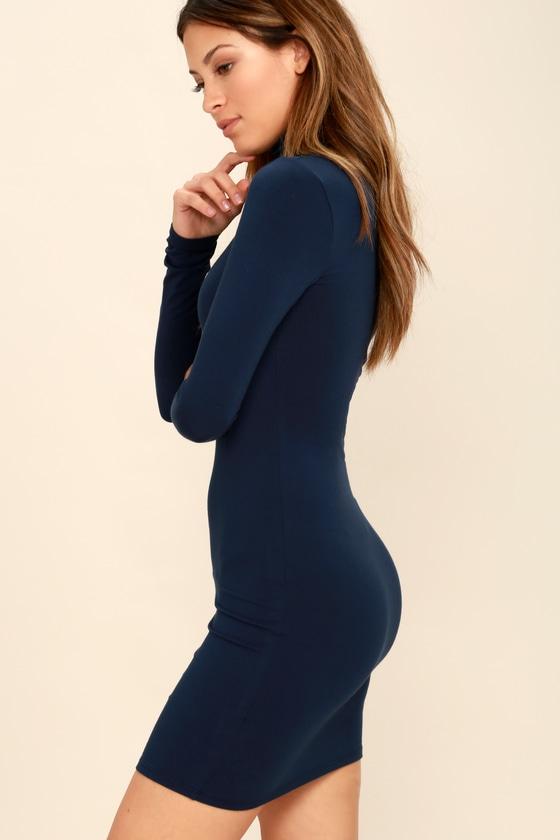 0109ec83f69d Navy Blue Dress - Turtleneck Dress - Long Sleeve Bodycon Dress
