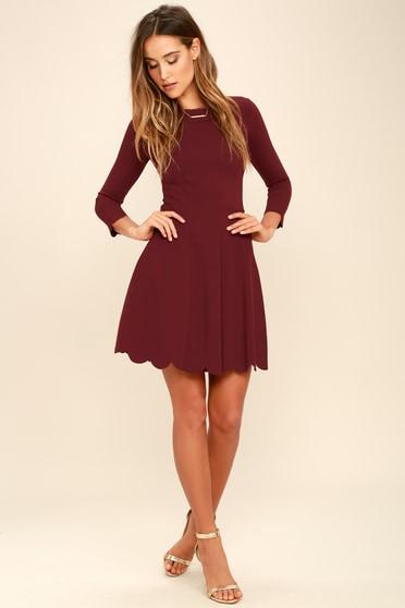 7ba27f8e29e Burgundy Skater Dress - Long Sleeve Dress - Skater Dress