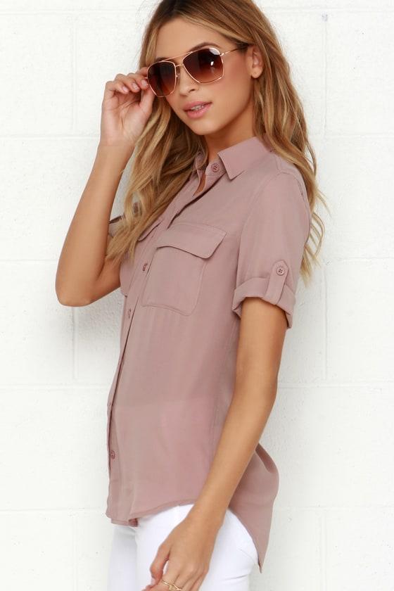 b77adb1f3ec1f Cute Mauve Top - Button-Up Top - Short Sleeve Top