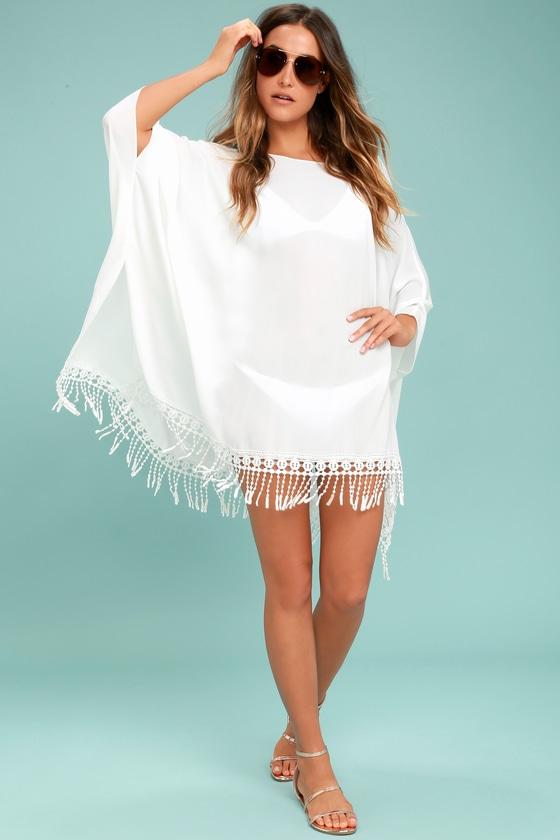 08366c31da5f5 Chic Ivory Cover-Up - Crochet Cover-Up - Ivory Kaftan