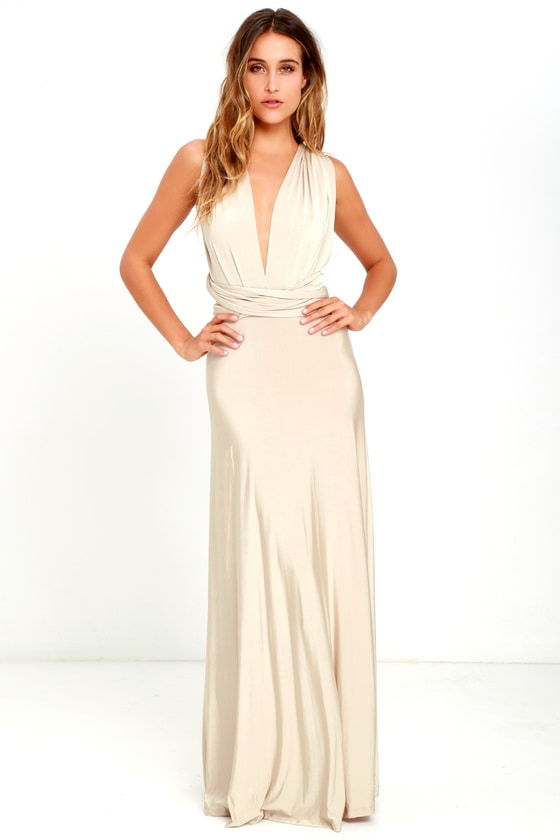 787822a513f Maxi Dress -Convertible Dress - Beige Dress - Infinity Dress