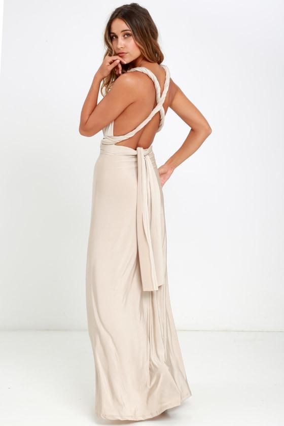 59d771b0204c Maxi Dress -Convertible Dress - Beige Dress - Infinity Dress