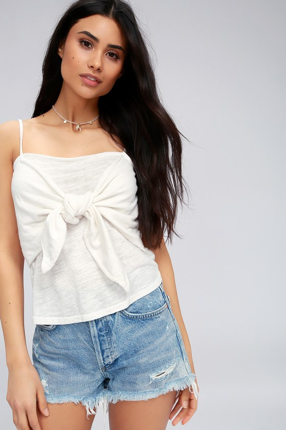70a3d098cf73da Project Social T Tied To You - Ivory Tank - Tie-Front Top