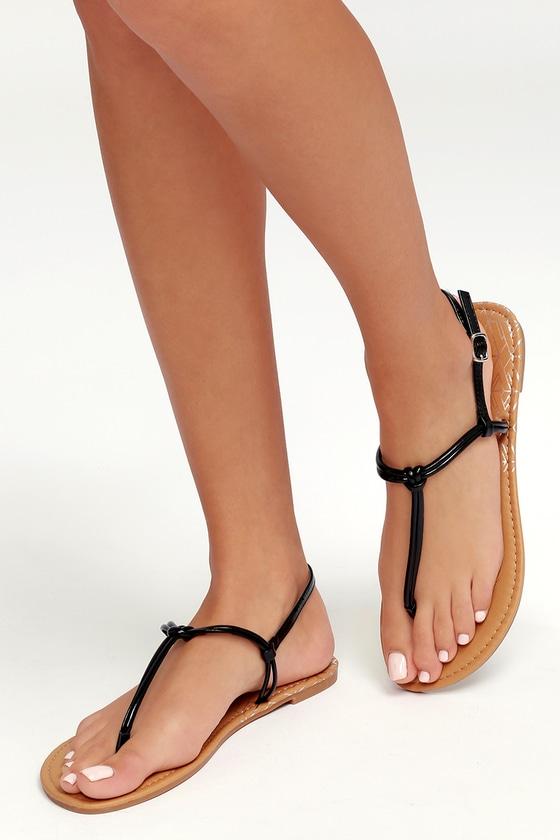 7a0f52c34 Cute Black Sandals - Thong Sandals - Flat Sandals