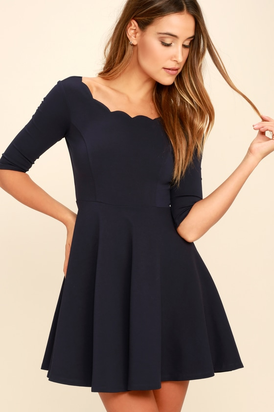 934a7f22b12c Cute Navy Blue Dress - Scalloped Dress - Skater Dress