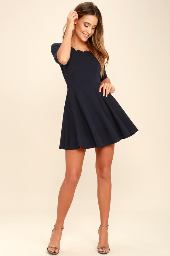 a64290a5634 Cute Navy Blue Dress - Scalloped Dress - Skater Dress