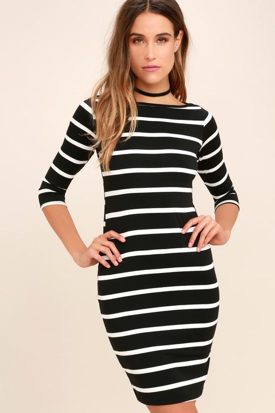 dfd6a39a4f48 Cute Black Dress - Striped Dress - Body-con Dress