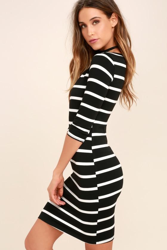 6c5c23cdb Cute Black Dress - Striped Dress - Body-con Dress