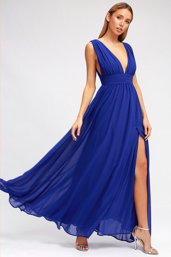 Royal Blue Gown Maxi Dress Homecoming Dress 84 00