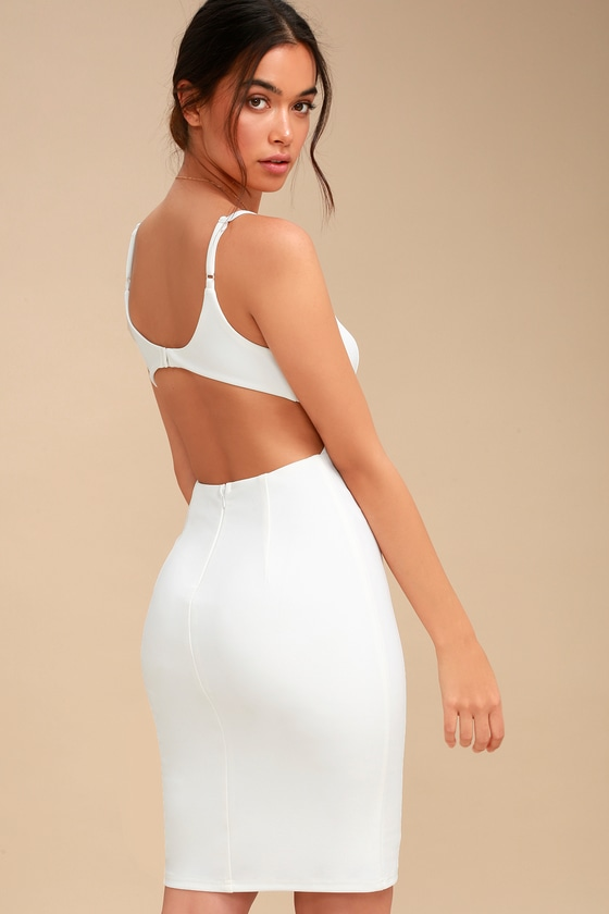 2e3d053d4122 Chic White Midi Dress - Bodycon Dress - Backless Dress