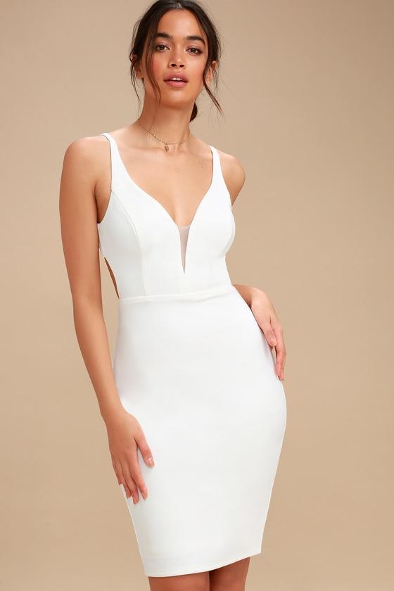 b9b670ad Chic White Midi Dress - Bodycon Dress - Backless Dress