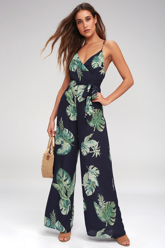 54565f564557 Give Me A Tropical Navy Blue Tropical Print Backless Jumpsuit