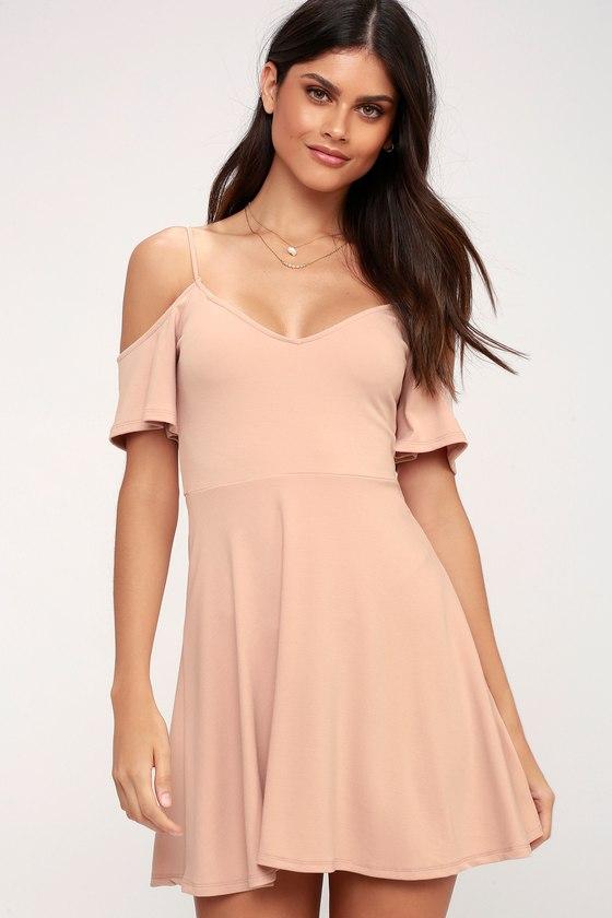 27898a65c23 Cute Off-the-Shoulder Dress - Blush Dress - Skater Dress