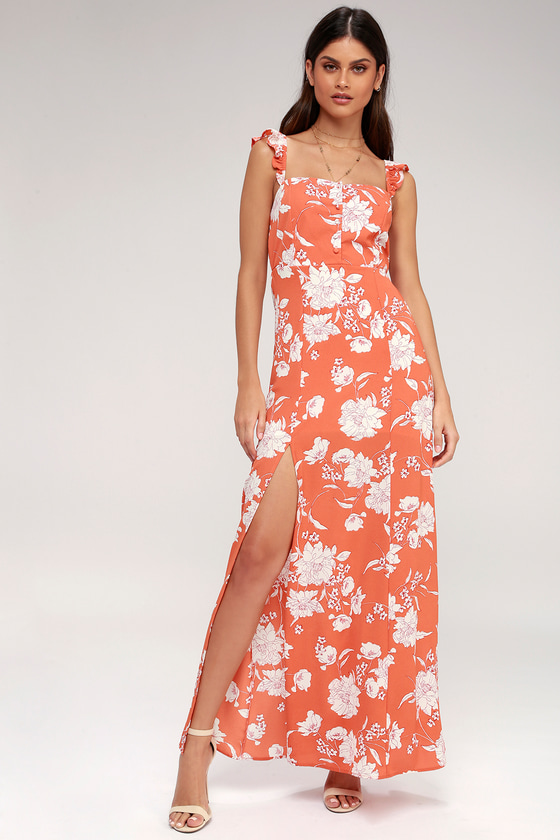 Senora Coral Floral Print Maxi Dress by Sage The Label