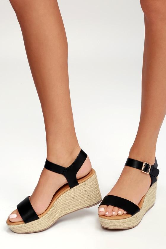90713dfa4edb Cute Black Wedges - Espadrille Wedges - Ankle Strap Sandals