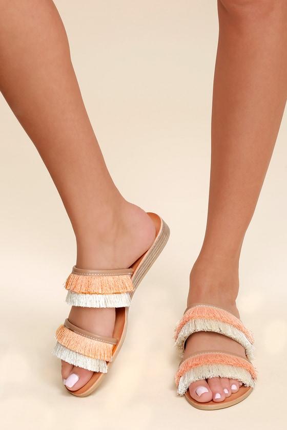 6a6603c3829 Dolce Vita Haya - Natural Sandals - Fringe Slide Sandals