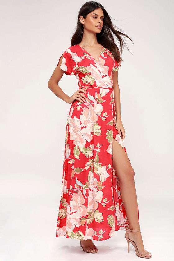 b688c8f08a Lovely Red Dress - Wrap Dress - Maxi Dress