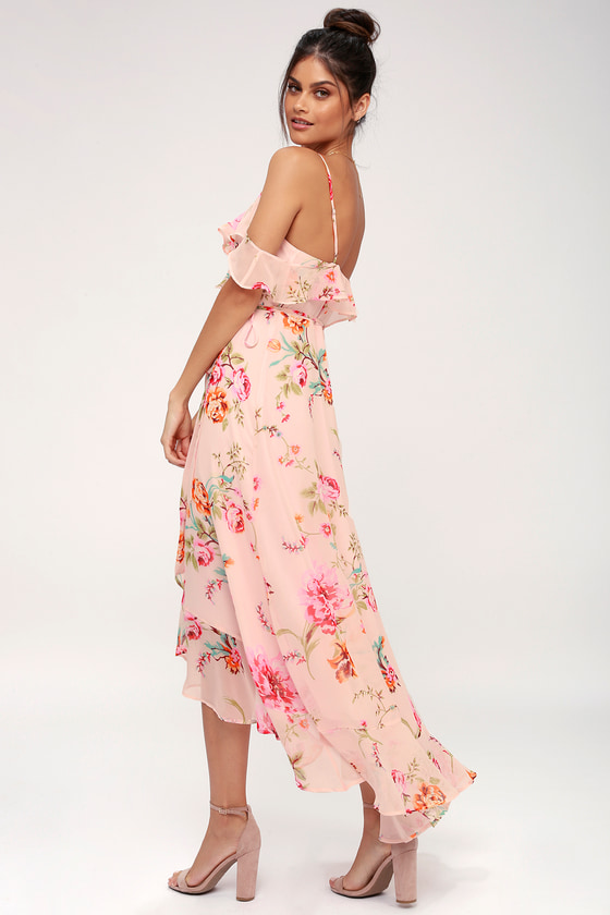Lovely Floral Dress - Blush Pink Dress - Wrap Dress ec259576f