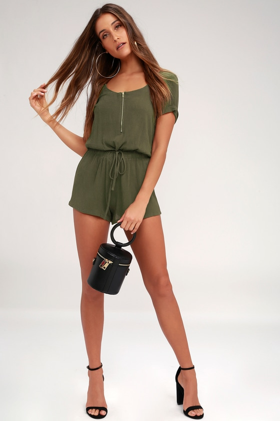 03aae32debe7 Set Free Olive Green Romper.  72. Quick View