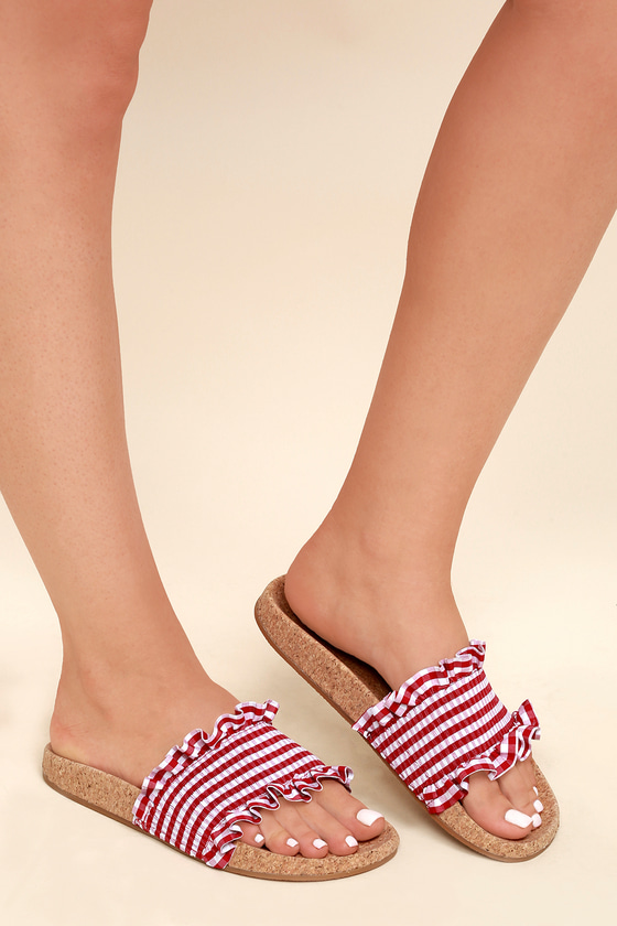 cd20590b0f93 LFL Alexa - Gingham Sandals - Slide Sandals - Cork Sandals
