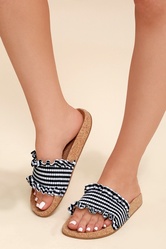 245191897443 LFL Alexa - Black Gingham Sandals - Cork Slide Sandals