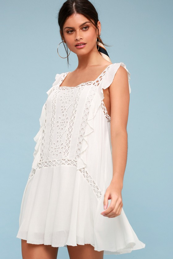 Priscilla White Crochet Mini Dress by Free People