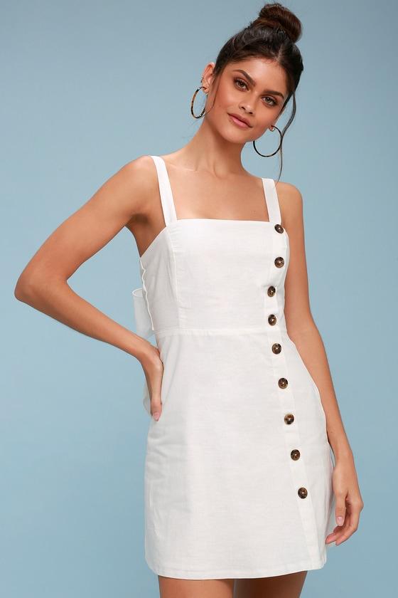 6b9fbf3c8 Cute White Dress - Button-Down Dress - Mini Dress