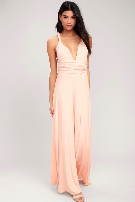e4b962972a13 Awesome Blush Pink Dress - Maxi Dress - Wrap Dress