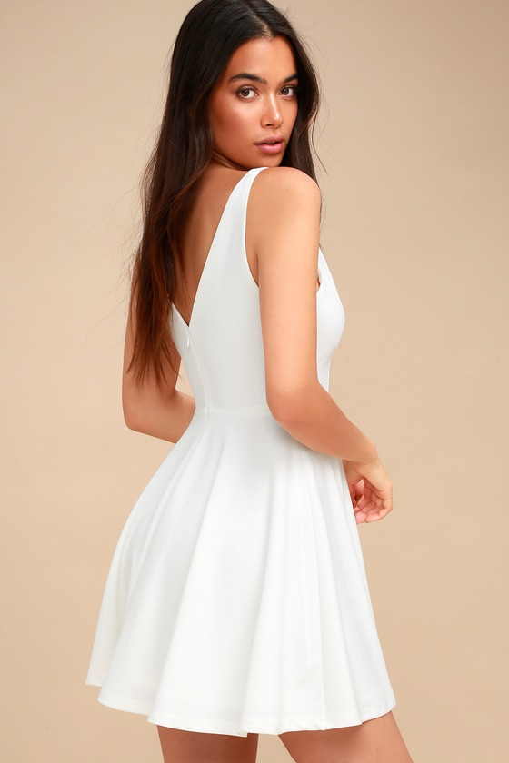2b0a319e40 Cute White Dress - Skater Dress - Sleeveless Dress - LWD
