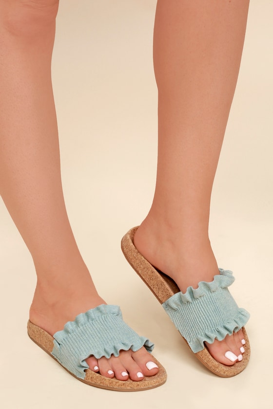 428cf82eea92 LFL Alexa - Denim Sandals - Slide Sandals - Cork Sandals