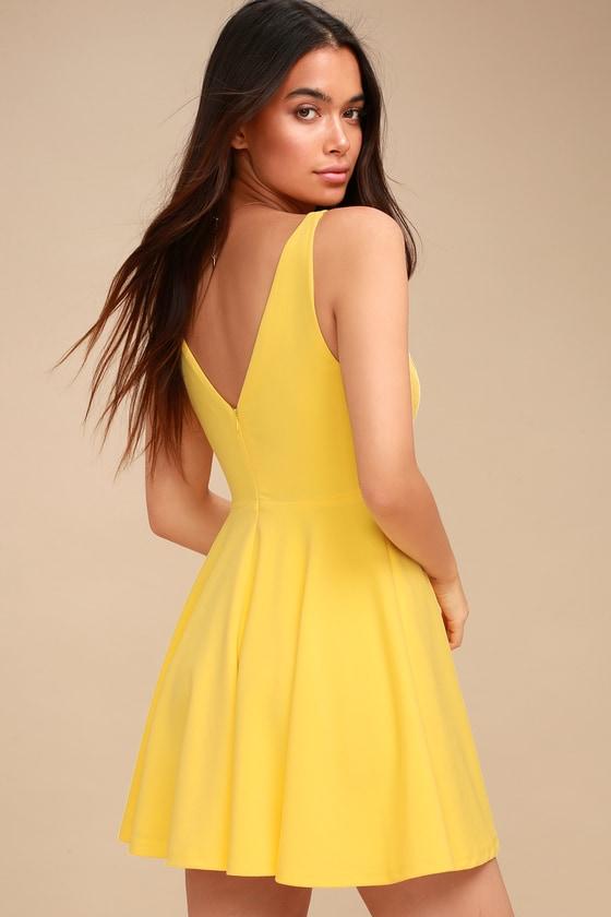 07c3d36023 Cute Yellow Dress - Skater Dress - Sleeveless Dress