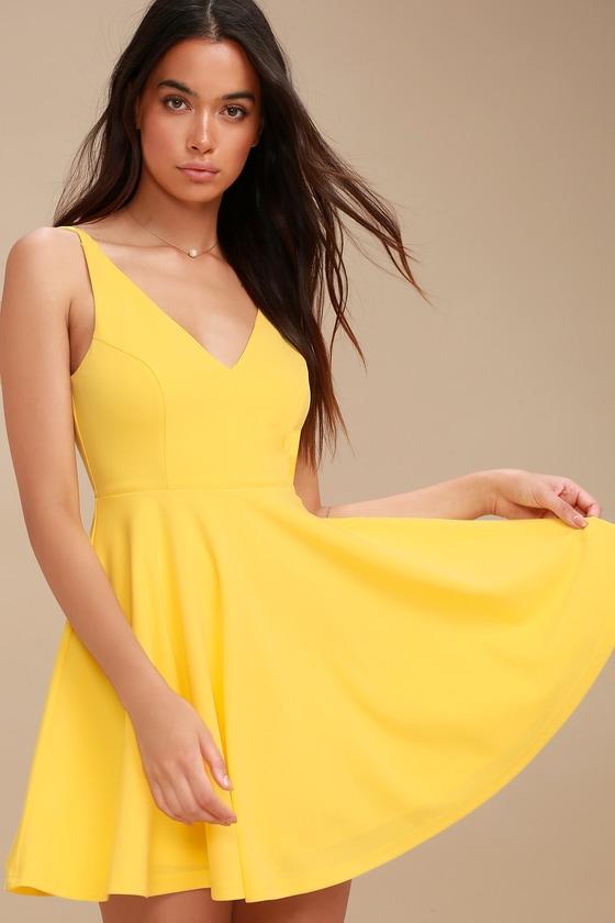 a7bff37583 Cute Yellow Dress - Skater Dress - Sleeveless Dress