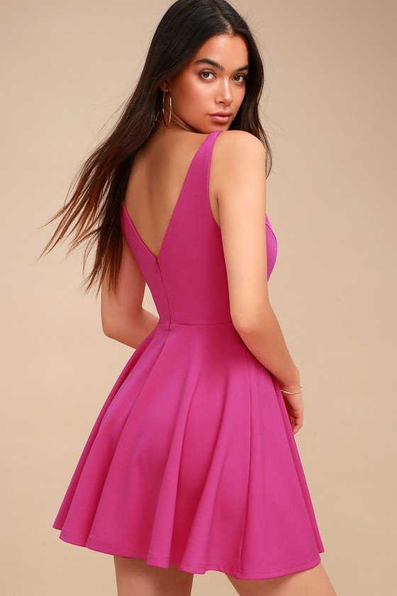 355d1023924d Cute Fuchsia Dress - Skater Dress - Pink Sleeveless Dress