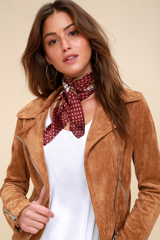 Vintage Scarf Styles -1920s to 1960s Monaco Rust Red and Cream Polka Dot Satin Scarf - Lulus $14.00 AT vintagedancer.com
