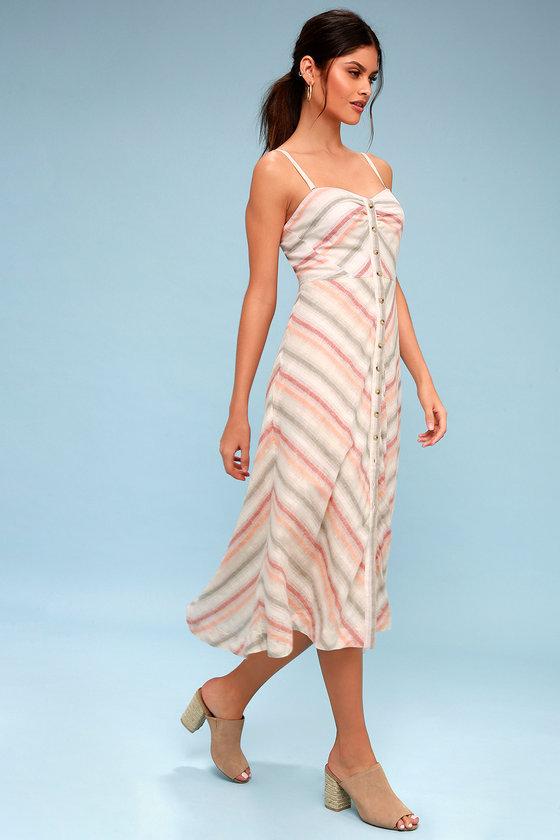 bea5e74c9dc Free People Striking Striped - Midi Dress - Ivory Dress