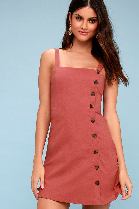 99ff8c876 Cute Rust Red Dress - Button-Down Dress - Mini Dress