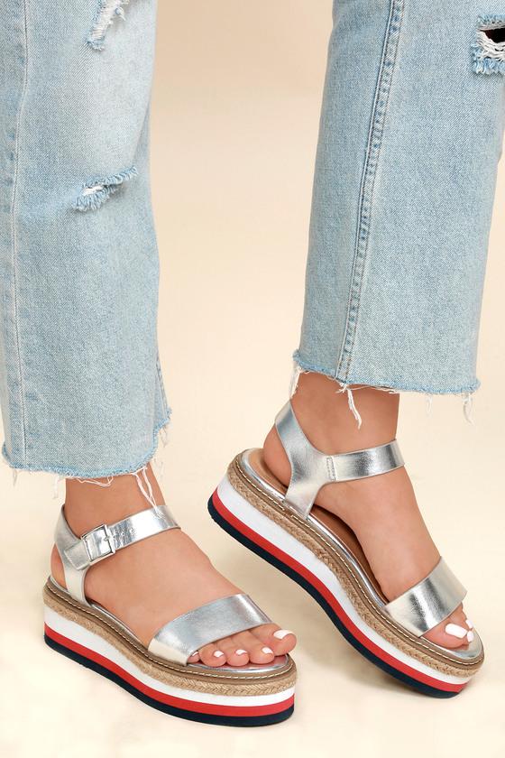 29fe203d445 Cute Silver Metallic Sandals - Flatform Sandals