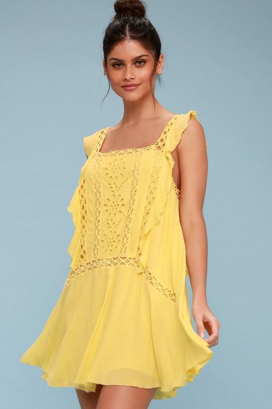 Free People Priscilla Yellow Dress Sundress Boho Dress