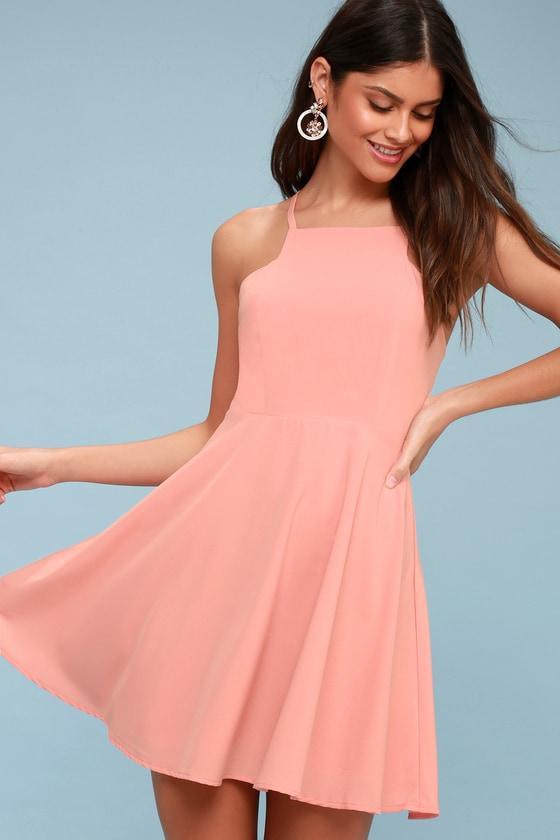 e4670bbca5 Cute Blush Pink Dress - Skater Dress - Fit-and-Flare Dress