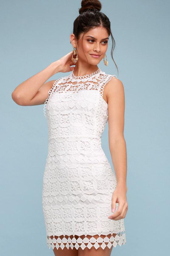 115db9e19db2 Chic White Dress - Crochet Lace Dress - Sheath Dress - LWD