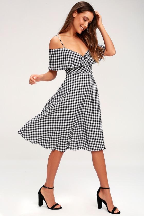 c18281ec2a3f Pretty Gingham Midi Dress - Black and White Gingham Dress