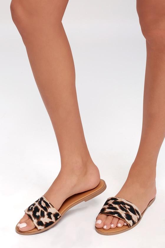 343406694033 Cute Leopard Print Slides - Leopard Print Slide Sandals