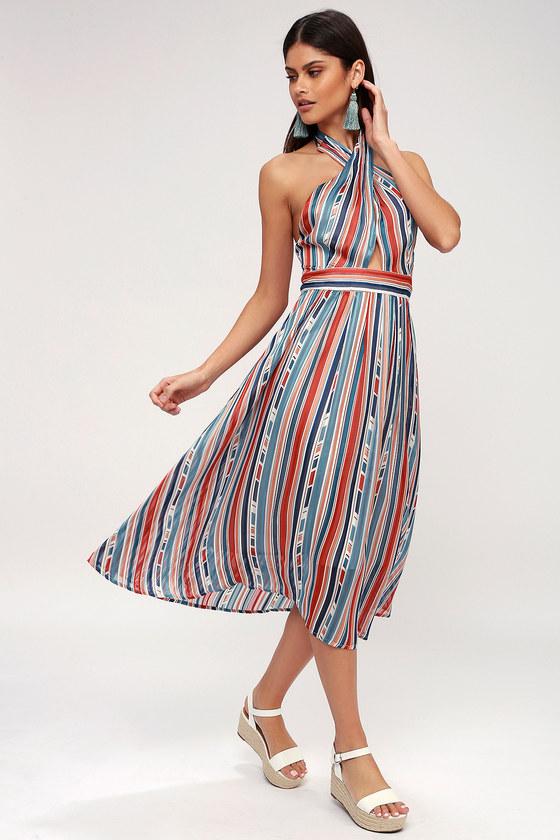 dc3acb55254d ASTR the Label Gemma - Teal Blue Multi Striped Midi Dress
