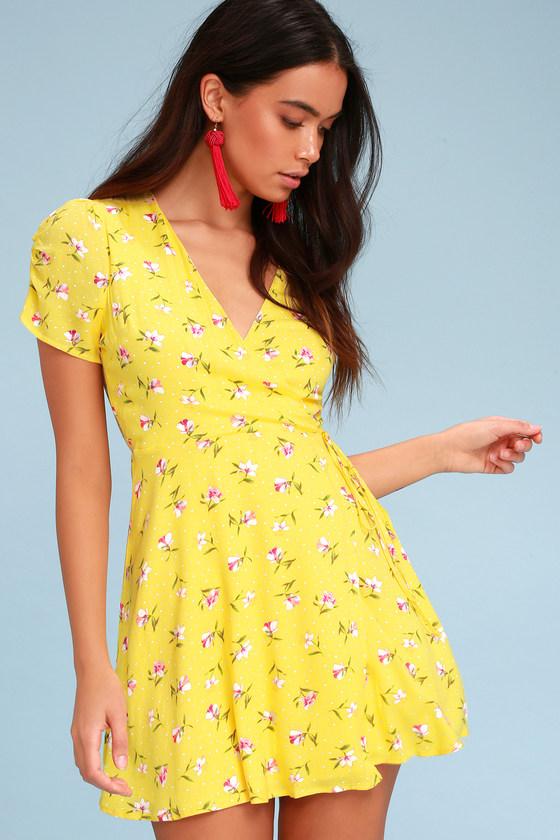 8be6d9b2700 LUSH Yellow Dress - Wrap Dress - Floral Print Dress