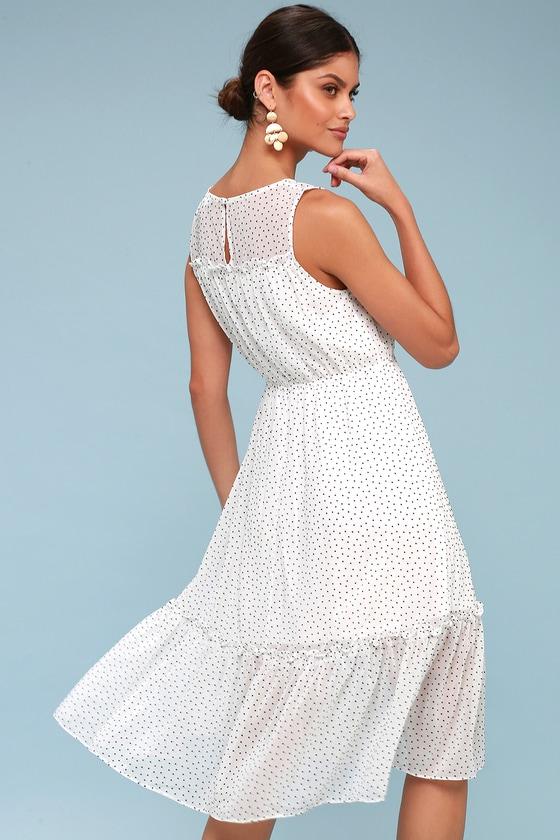 cb94729609f Cute White Polka Dot Dress - Midi Dress - Sleeveless Dress