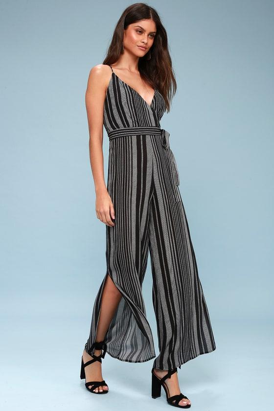 f4dc5f6c7d7 Chic Black Striped Jumpsuit - Wide-Leg Jumpsuit