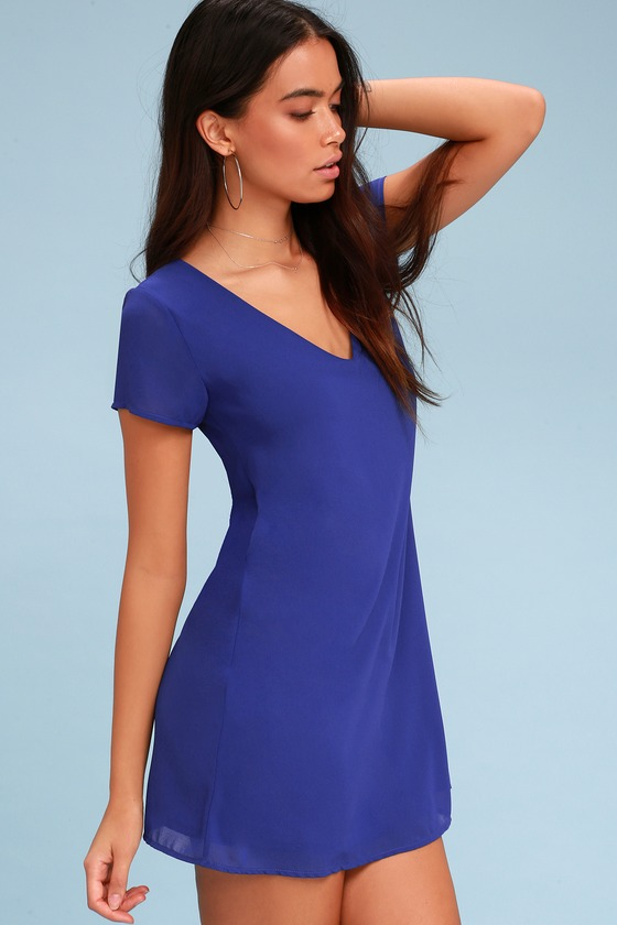 42433ab6d714 Chic Short Sleeve Royal Blue Dress - V-Neck Dress -